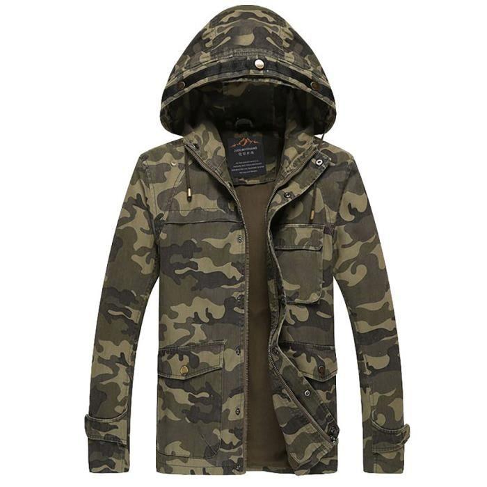 Veste de camouflage Veste homme Stand col veste Automne - Printemps 2016 Veste Militaire Homme Veste pilote saharienne homme Veste