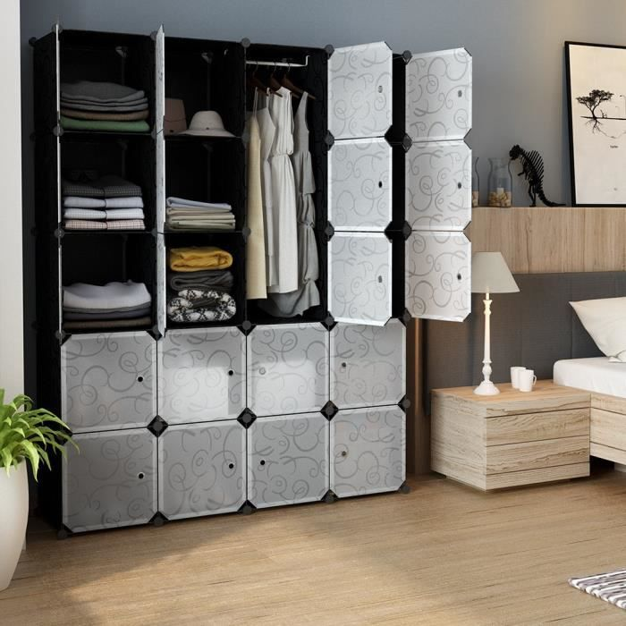 Armoire Penderie Portable 20 Casiers Cubes de Stockage Modulaire Étagère de Rangement , Assemblage Facile pour Vêtements, Accessoire
