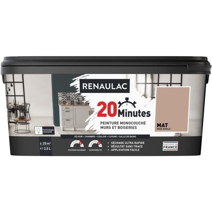 RENAULAC Peinture intérieur monocouche 20 Minutes murs et boiseries - 2,5L - 25 m² - Rose argile Mat