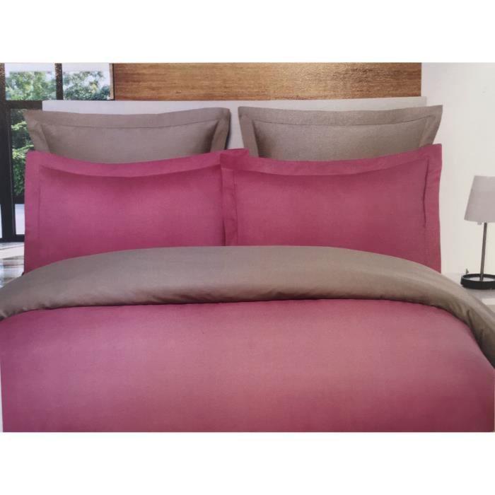 Housse de couette bicolore et réversible Satin de Coton 120 fils - 200x200 - rose poudrée/ficelle - Salomé Prestige