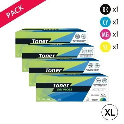 Equivalent Canon 054H Pack 4 toners Noir et couleurs marque Toner Services 1x3100 + 3x2300 Noir Et Couleurs