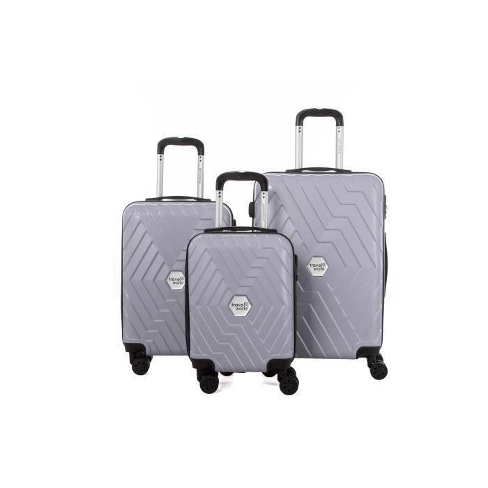 TRAVEL WORLD Ensemble de 3 valises 46/56/66cm Argent