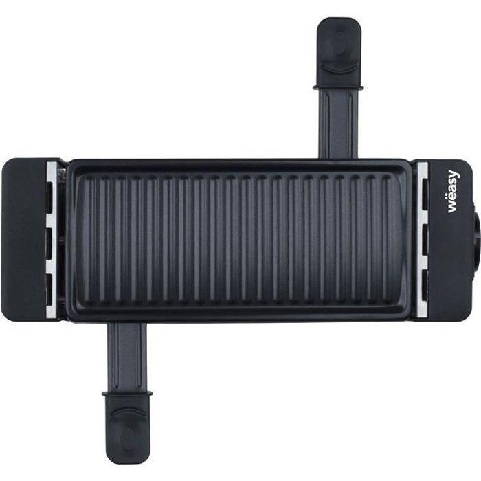 WEASY TIK12 Raclette noire connectable 2 personnes - Grill - 400W - Revêtement anti-adhésif - Plaque amovible