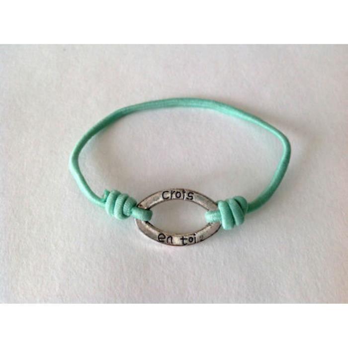 """Idée cadeau Bijoux cordon bleu clair Bracelet message /""""quasiment ange../"""""""