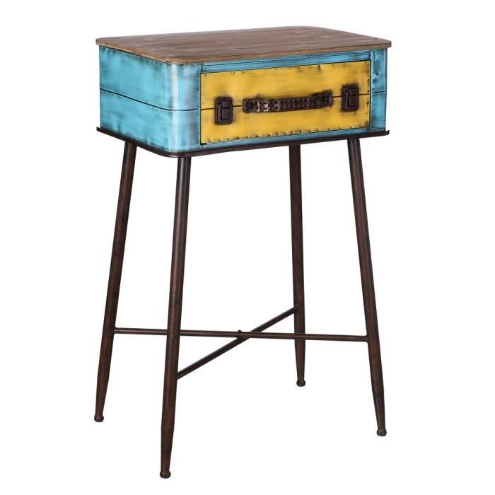 petite table valise jaune bleu m tal achat vente console extensible petite table valise. Black Bedroom Furniture Sets. Home Design Ideas