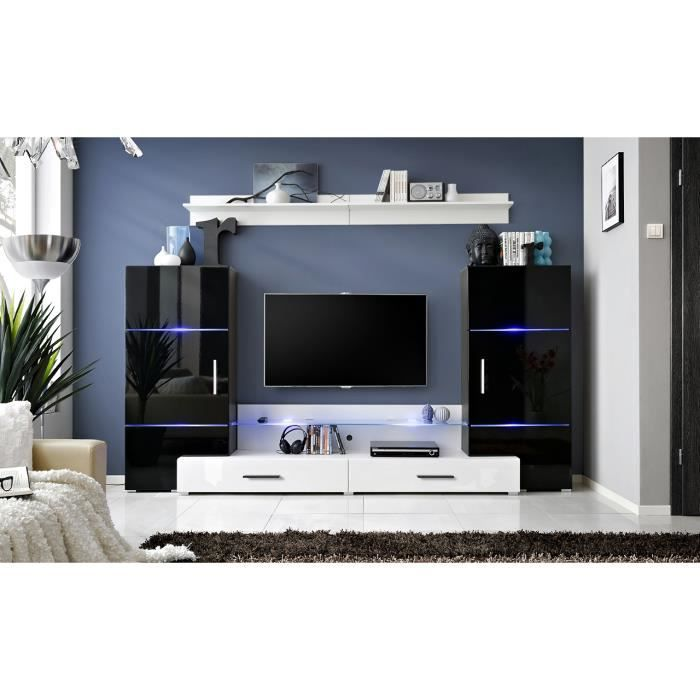 Meuble de salon tv complet design twin led achat - Meuble salon complet ...