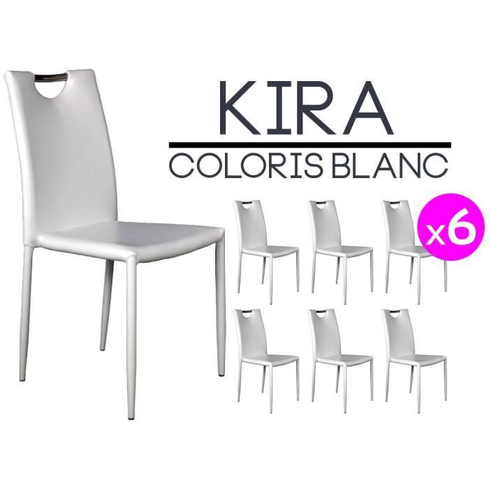 Kira lot 6 chaises blanches achat vente chaise blanc cdiscount - Lot de 6 chaises blanches ...