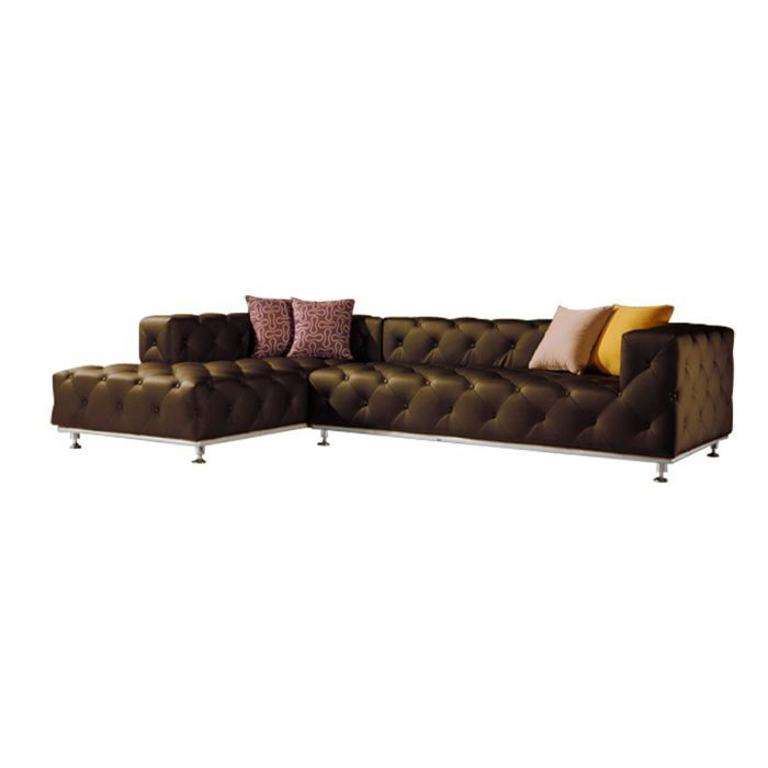 canap d 39 angle gauche capitonn cuir marron fonc achat vente canap sofa divan cdiscount. Black Bedroom Furniture Sets. Home Design Ideas