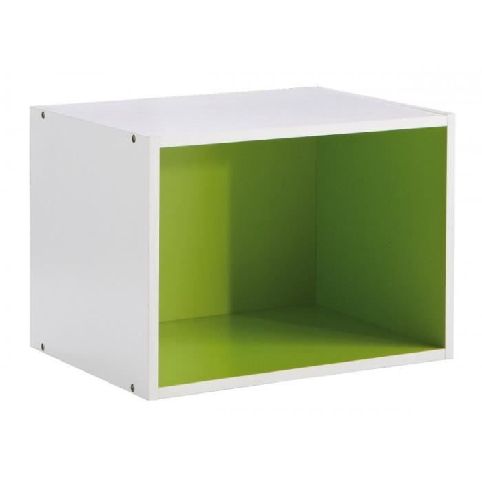 caisson rectangulaire 1 niche rainbow blanc vert achat. Black Bedroom Furniture Sets. Home Design Ideas