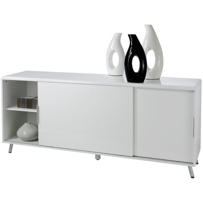 buffet laqu blanc 2 portes coulissantes l a id achat vente buffet bahut buffet laqu. Black Bedroom Furniture Sets. Home Design Ideas
