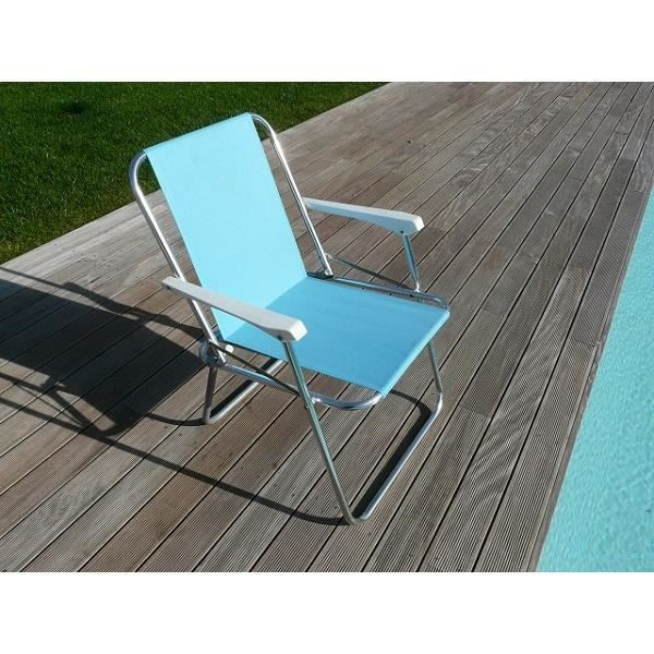 chaise de jardin relax pliante aluminium bleu achat vente chaise fauteuil jardin chaise de. Black Bedroom Furniture Sets. Home Design Ideas
