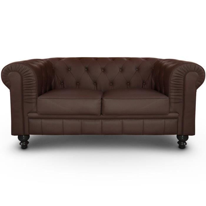 Canap 2 places chesterfield marron achat vente canap sofa divan cro - Canape chesterfield convertible 2 places ...
