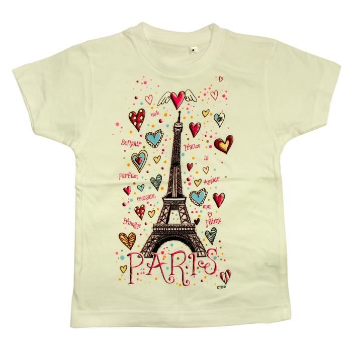 t shirt fille paris 39 coeurs tour eiffel 39 achat vente t shirt soldes d t cdiscount. Black Bedroom Furniture Sets. Home Design Ideas