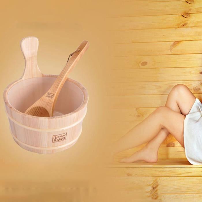 Salle de bain Seau de sauna naturel cuill/ère en bois avec doublure portable peau en bois perte de poids Sauna Tool Supplies bois couleur