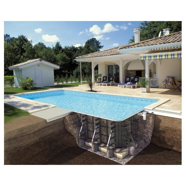 Piscine en kit rectangulaire 6x3x1 25m filtre sable avec for Piscine 25m