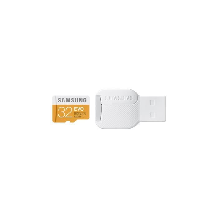 carte m moire micro sd hc 32 go samsung evo avec adaptateur usb achat vente carte m moire. Black Bedroom Furniture Sets. Home Design Ideas