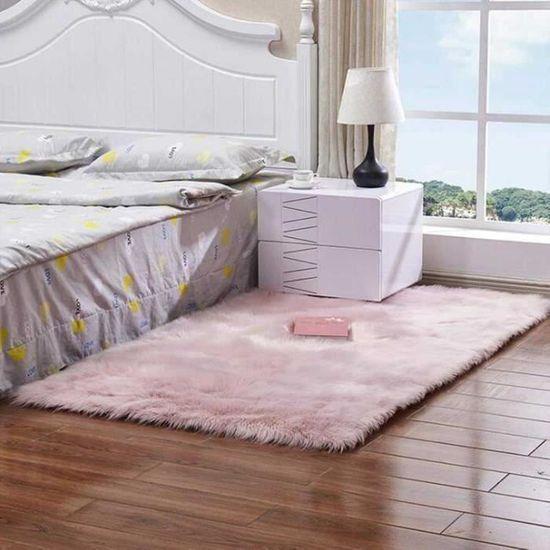 DQMEN Toison Tapis Laine Tapis Imitation Toison Moquette Fluffy Soft Longhair D/écoratif Coussin de Chaise Canap/é Natte Rose, 60 X 90cm