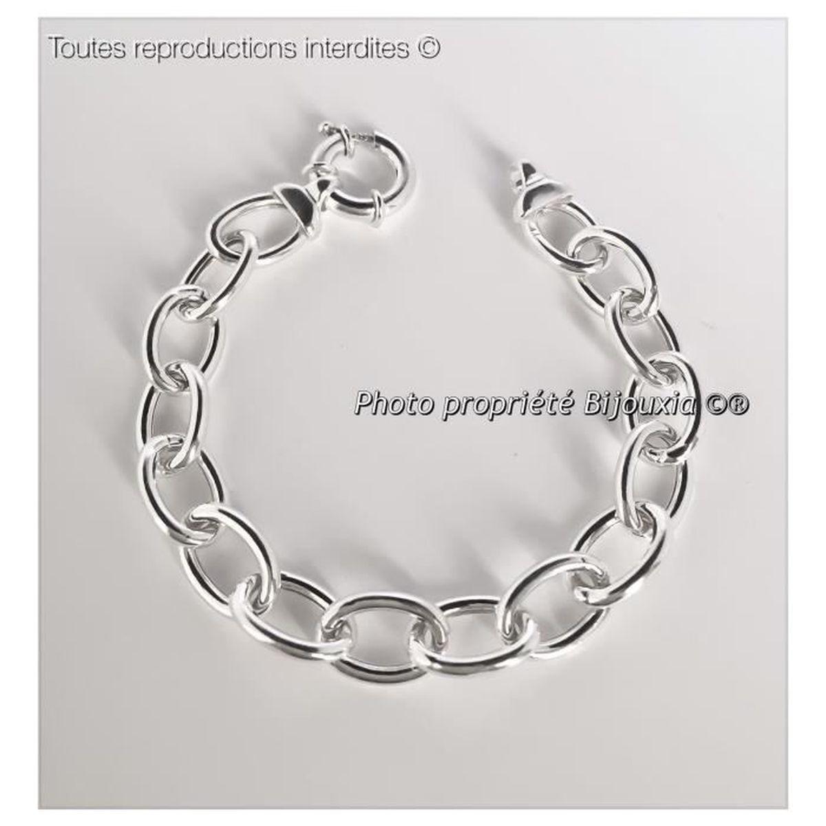 Bracelet Maille Forcat disques pour CHARM ARGENT NEUF