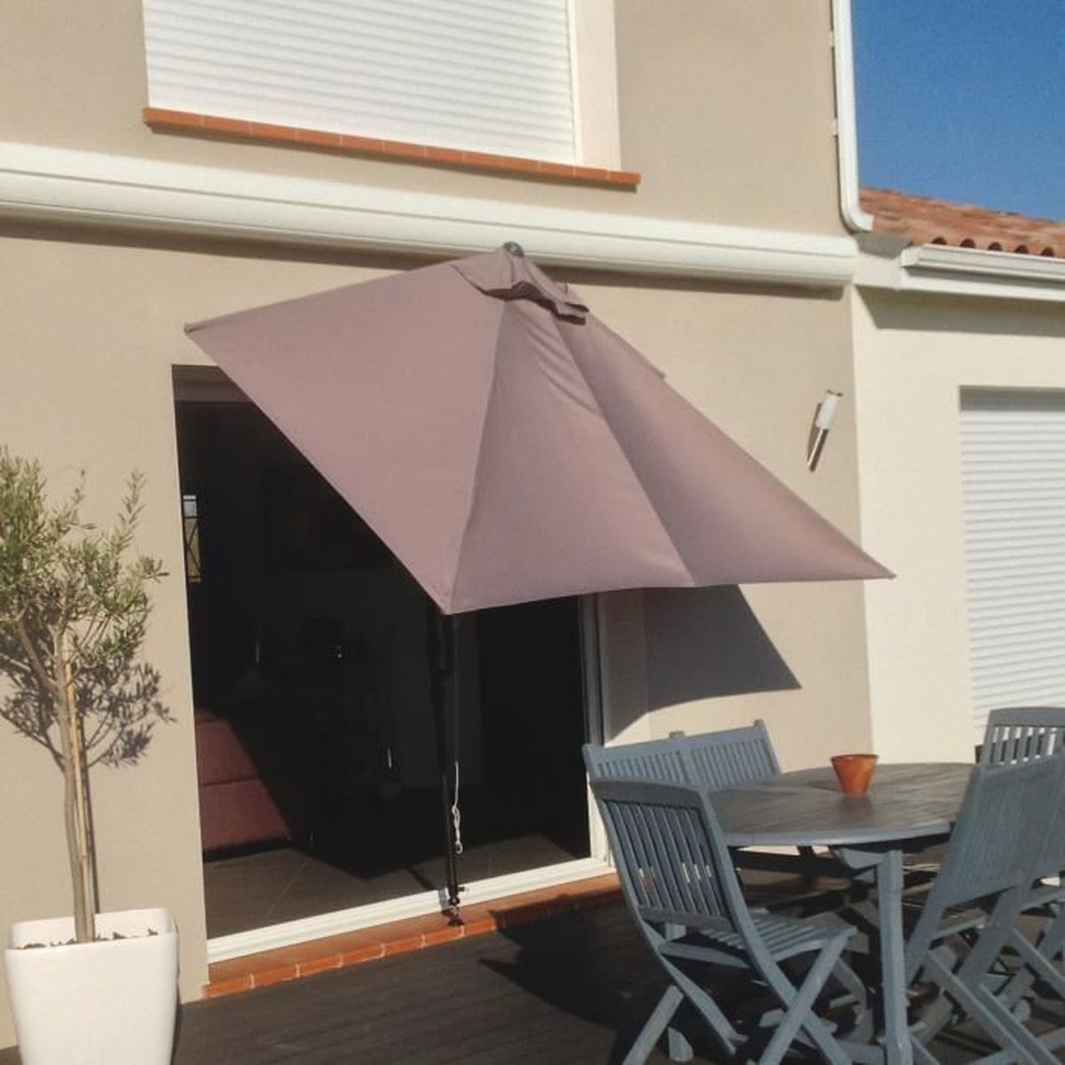 parasol de balcon rectangulaire 3 x m leo taupe achat vente parasol parasol de balcon. Black Bedroom Furniture Sets. Home Design Ideas