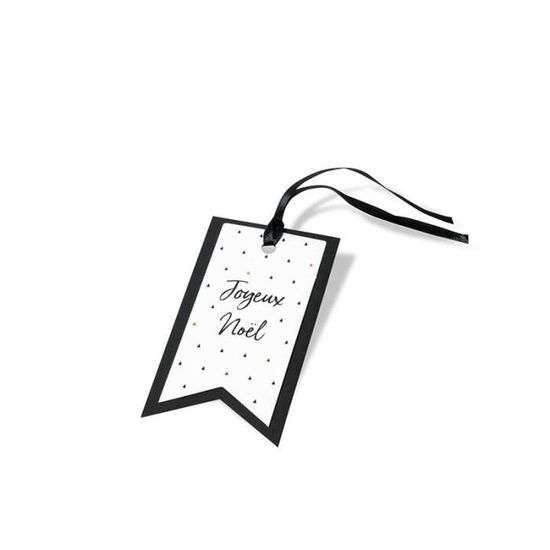 8 étiquettes Joyeux Noël Graphique 9cm Or Noir Blanc