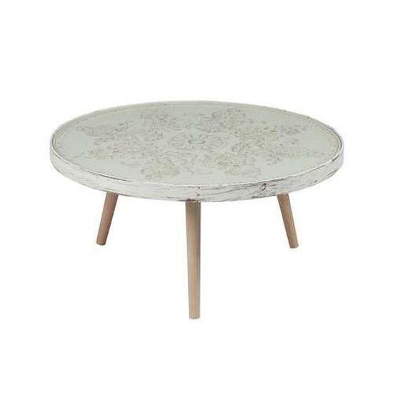 Table Basse De Salon Ronde Bois Et Verre Beige Beige Achat