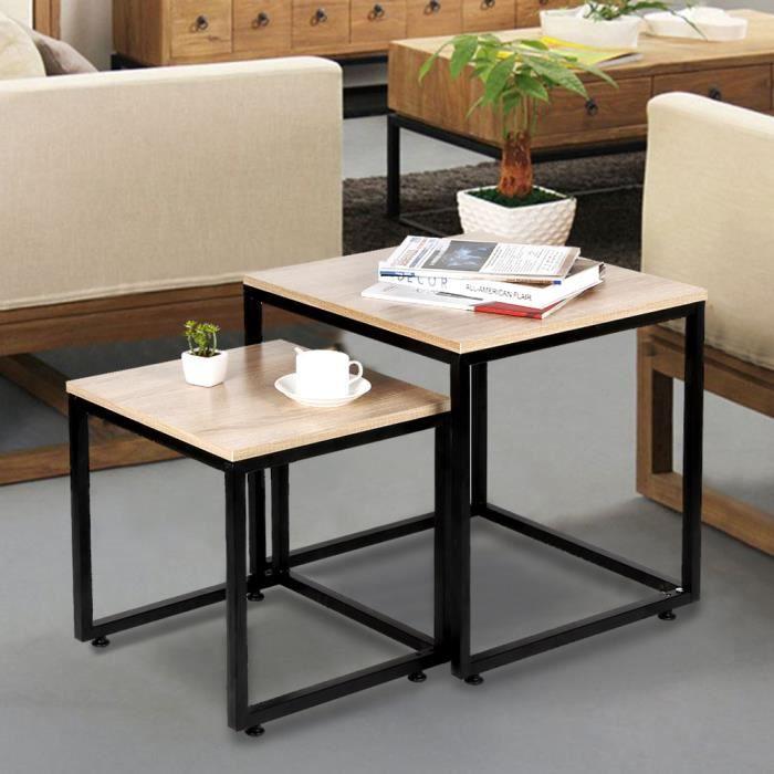 Table Basse Design Industriel Bois et métal Lot de 2 Tables