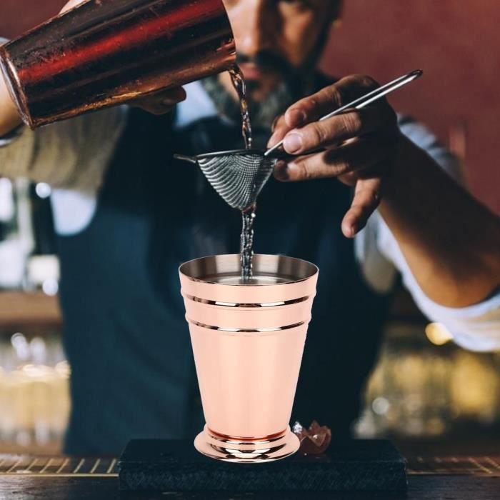 400ML Coup pour Mojito Mint Julep Mixte Boissons Bar maison en acier inoxydable (Or rose)