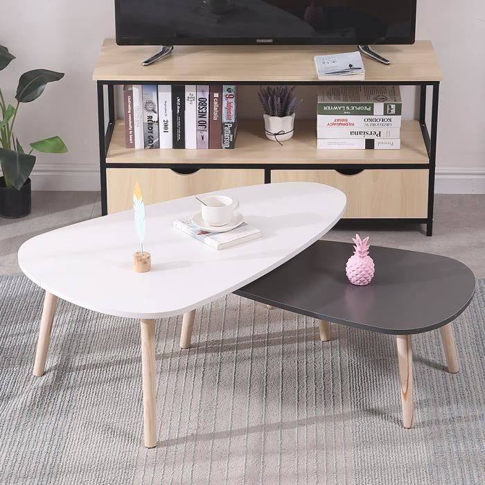 Lot de 2 Tables Basses gigognes laquées Blanc+ Gris scandinave