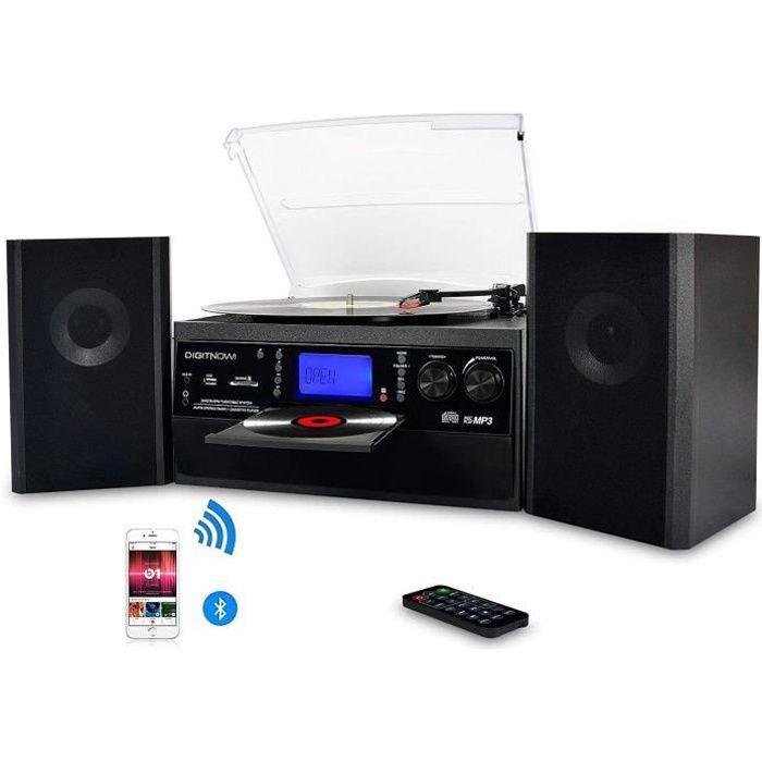 Chaînes Hi-Fi DIGITNOW! Platine Vinyle Bluetooth USB mp3 et Fonction Encodage Classique Lecteur CD avec CD Cassette Radi 7766