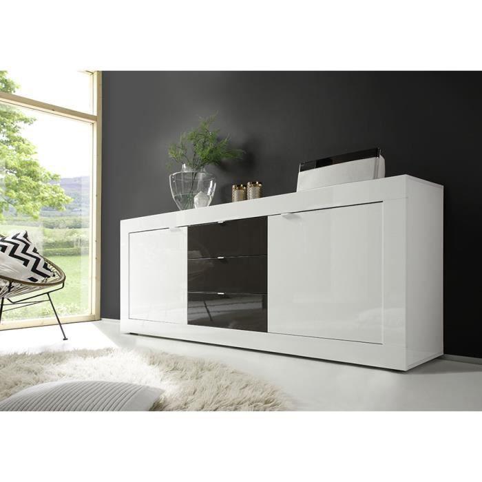 Buffet bahut blanc et gris laqué design ARIEL 3 L 210 x P 43 x H 86 cm Blanc