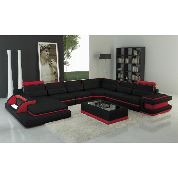 RANNA PANORAMIQUE - Canapé d'angle panoramique design en cuir noir et rouge avec lumière intégrée
