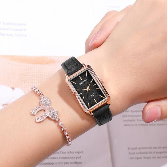 BARSH Montre femme, montre à mouvement à quartz pour femme avec cadran rectangulaire et bracelet en cuir style-Brown White