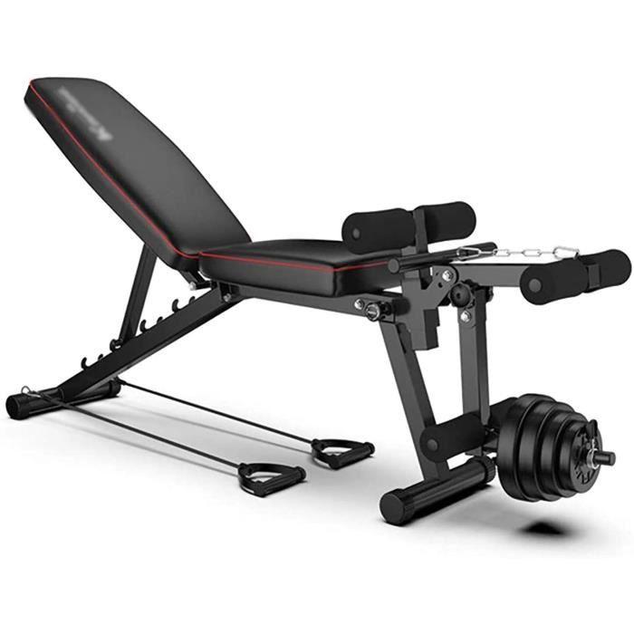 Banc de Musculation Réglable Workout,Solid Body Leg Extension Machine Leg Curl,Banc Olympique Workout Bench Press,Tabouret Haltère,C