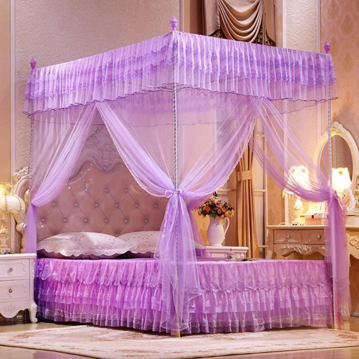 Trois portes ouverte Princess Moustiquaire Rideaux de lit double Rideau de sommeil Violet M39632 Ma53985