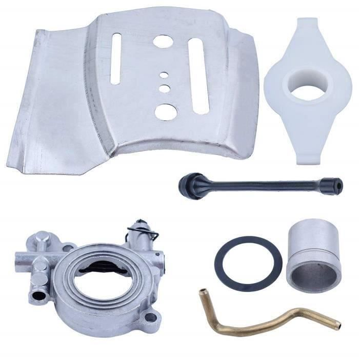 Kit de conduite d\'engrenage à vis sans fin de plaque de barre de pompe à huile pour Husqvarna 385 390 372 570 575 576 XP