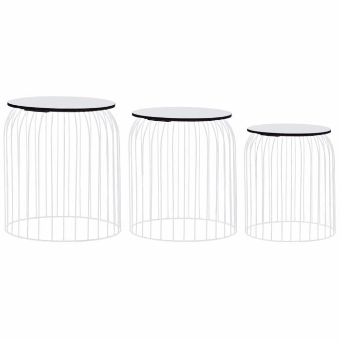 Jardin*2299Moderne - Lot de 3 Tables Basses gigognes Vintage Décor Table d'appoint pour salon Table de Salon - Bout de canapé Table