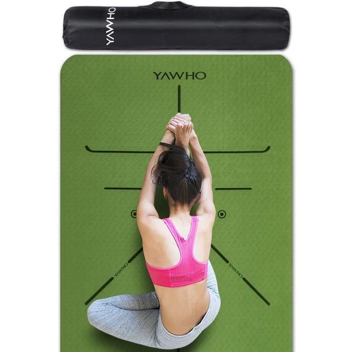YAWHO Tapis de Yoga Tapis Fitness Tapis d'Exercice,matières de TPE,Dimension:183cmX66cm,épais de 6 mm,très Grand Tapis de Sport a