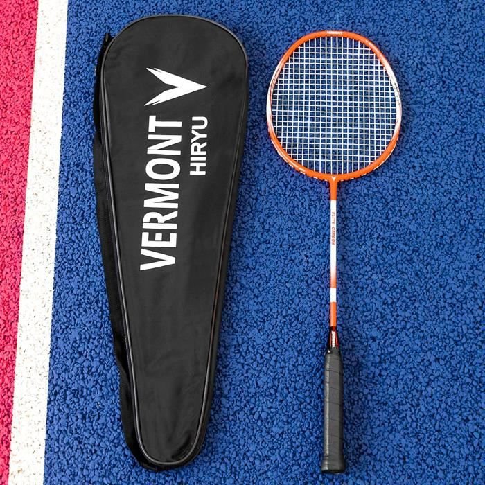 Raquette de Badminton Vermont Hiryu Badminton Raquette - Performance Carbone Elite - Professionnel 27- Raquette Senior - Fabriqu12