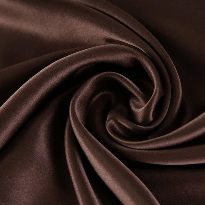 Taie d'oreiller Pure soie taie doux Couvre soie, Super Doux et Confortable,2Pcs, 50x75cm,Marron