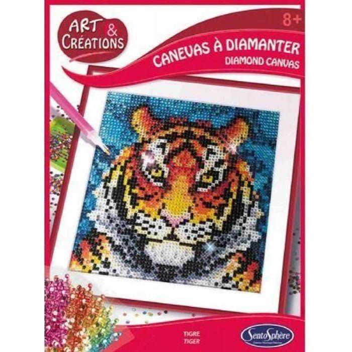 SentoSphère Kit créatif Art et créations Canevas à diamanter Tigre - 3373910020275