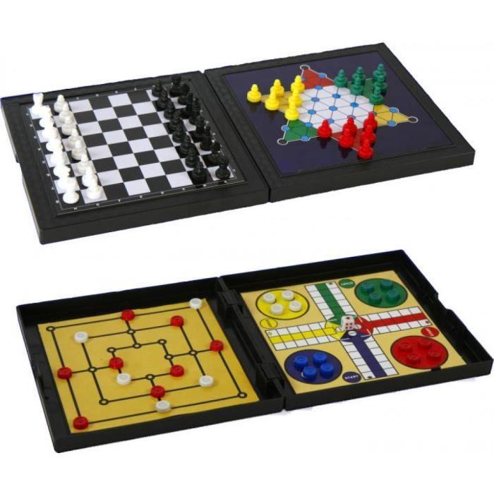 Jeux 2 Mômes - Game '5 en 1' Jeu d'échecs jeu de dammes Magnétique Plateau Pliant Loisirs Jeux Société Enfants Jouet Garçon Fille