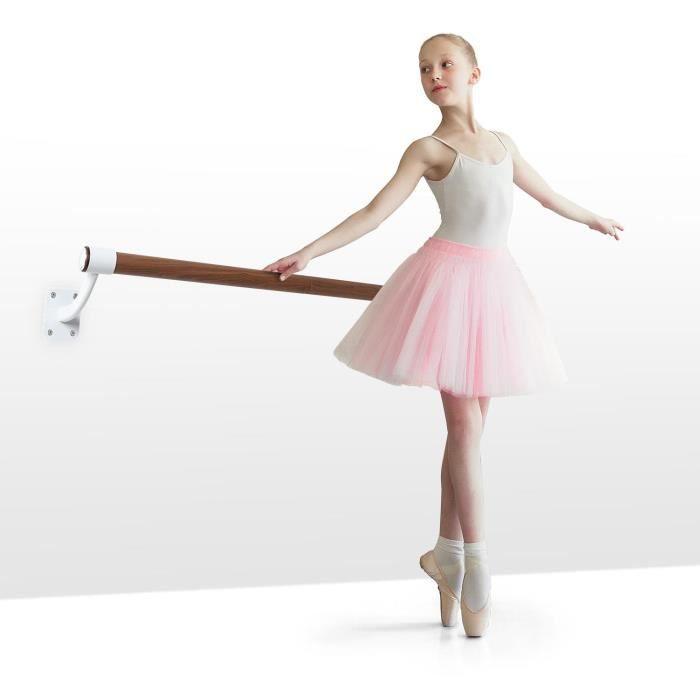 Klarfit BarreMur Barre d'exercice 100 cm pour ballet & danse classique , Ø 38 mm , montage mural ,aspect bois - Marron & blanc