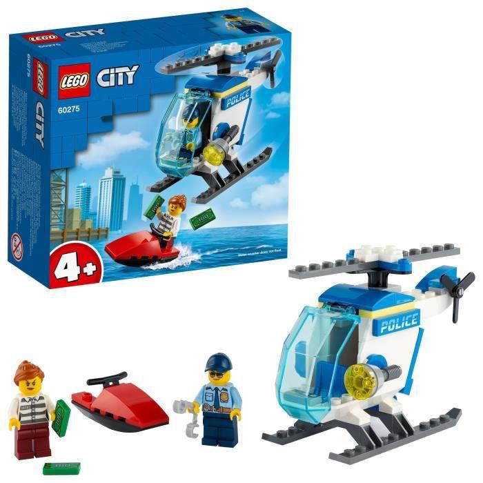 LEGO® City 60275 L'hélicoptère de la police, jeu d'action pour enfant doté d'un jet-ski, de billets de banque et de figurines