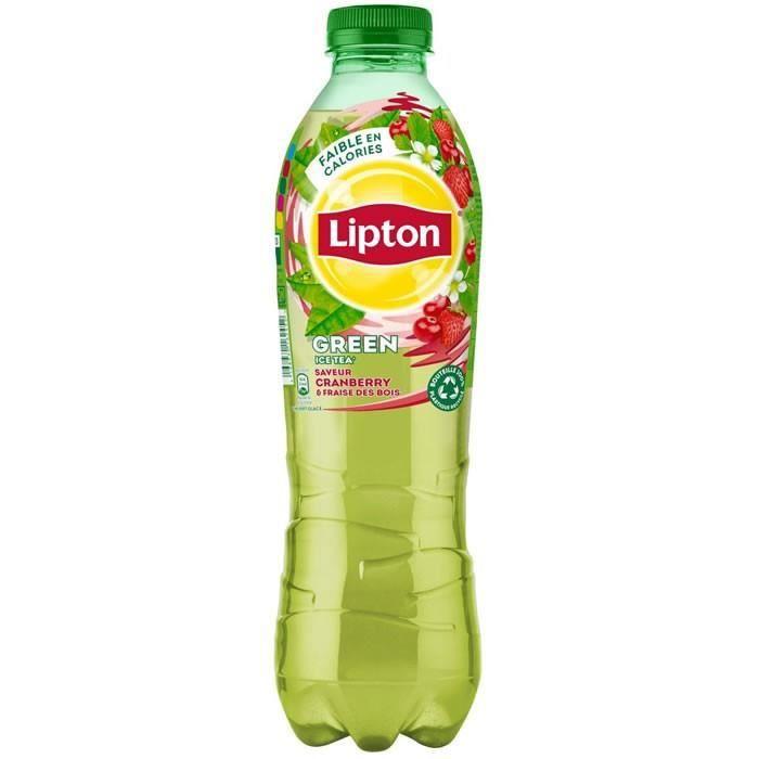 LOT DE 8 - LIPTON Green Ice Tea - Thé glacé saveur cranberry fraise 1 L