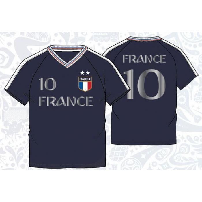 T-shirt Foot 2 étoiles France Bleu Marine Champion du monde 2018 Enfant