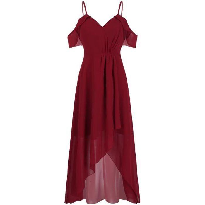 Robe Élégante Femme Pour Mariage Robe de Cérémonie Robe Longue Soirée Robe de Demoiselle D'Honneur Sans Manches Taille 36-48