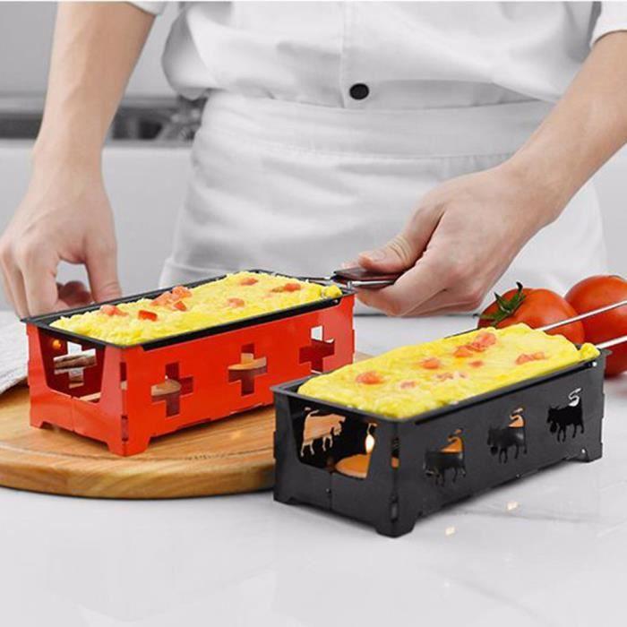 Mini Appareil à Raclette à Bougie Chauffe-Plat Pliable à Raclette NOIR