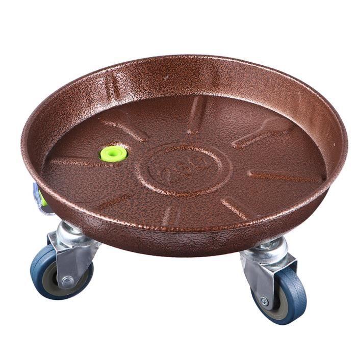 Roue en fer Pot mobile en métal universel Épaissie Forme ronde de fleur Fleur résistante en pot pour intérieur et POT DE FLEUR