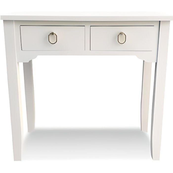 Console en bois blanc 2 tiroirs poignées dorées KANNA