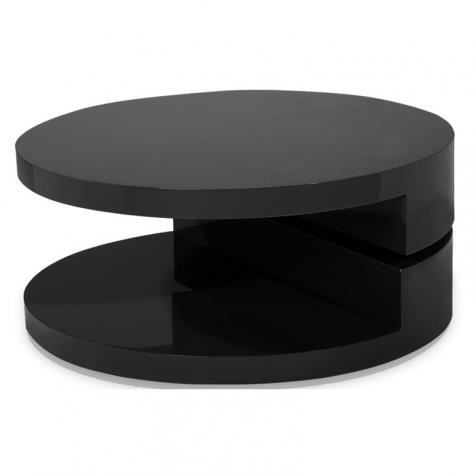 table basse ronde design laqu e noire pivotante 360 laxy achat vente table basse table. Black Bedroom Furniture Sets. Home Design Ideas
